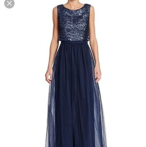 Vera Wang sequin tulle evening navy popover gown